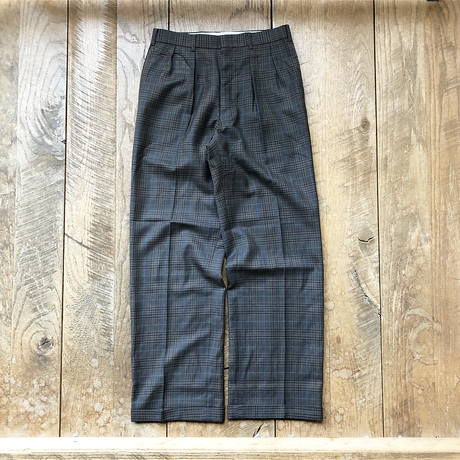 Men's  tuck wide check pants(W30inch)