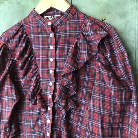 lady's vintage plaid  pattern victorian style  blouse