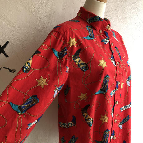 lady's western boots pattern blouse