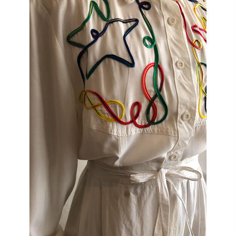 lady's colorful code embroidery western shirt