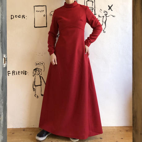 lady's 1970's high neck maxi length one-piece
