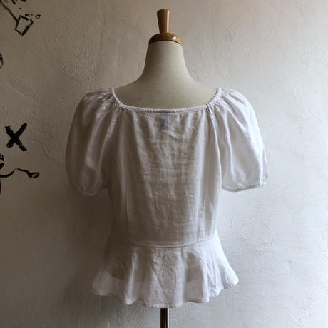 lady's square neck &puff sleeve  design tops