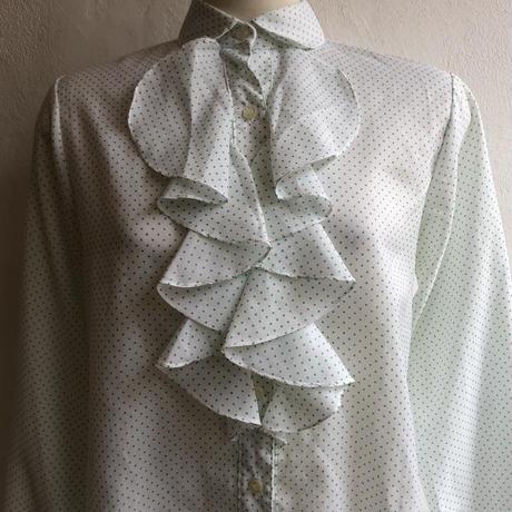 lady's pin dot pattern frill blouse