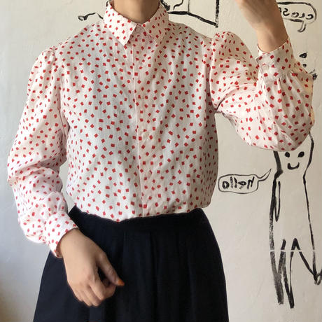 lady's painting style pattern blouse(white)