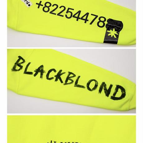 BLACK BLOND/CUSTOM Paint Hoodie  NEON YEllow