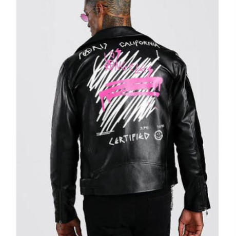 BOOHOO /Paint Art Biker Jacket