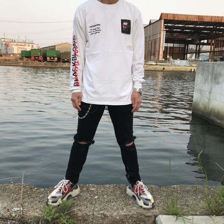 BLACK BLOND/BRUTAL Long Sleeve Tee WHITE