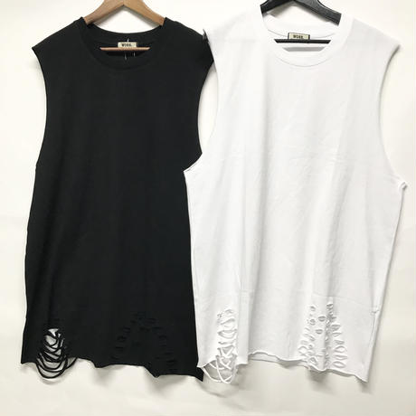 WOSS.official/CUT OFF No Sleeve Tshirts (Black/White)