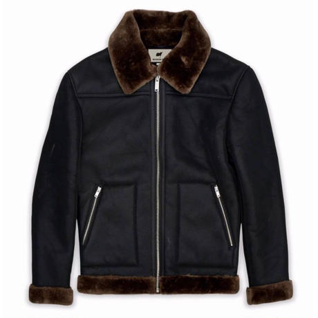 Reason Clothing Newyork/Fur  jacket BLACK×BROWN