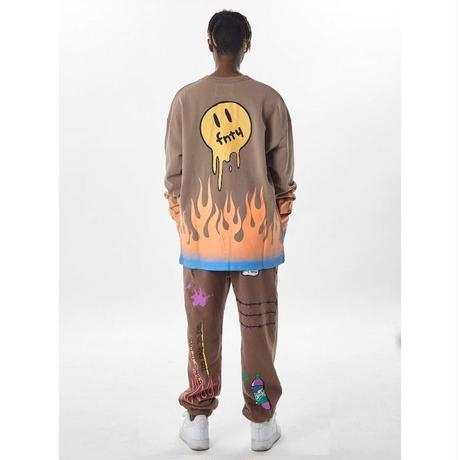 FNTY/Flying FLAME Sweat pants Neon Yellow