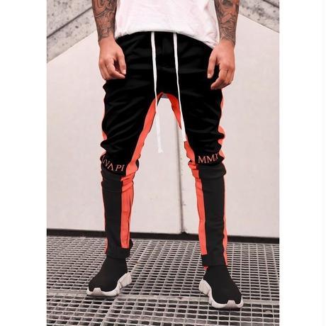 GUAPI/Biker Track Pants BLACK Orange Line