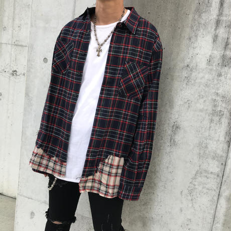 BLACK BLOND/Layered check shirts NAVY