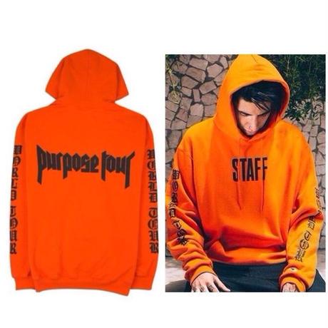 Purpose tour/Justin bieber official STAFF フーディー オレンジ
