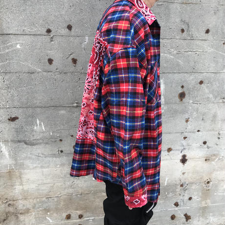 WOSS.official/Oversized BANDANA flannel shirts RED
