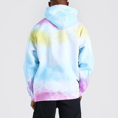 BOOHOO /Graffiti Flame Hoodie Tie-dye