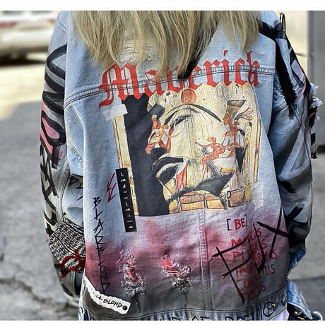 BLACK BLOND/CUSTOM Denim Jacket(BLUE)