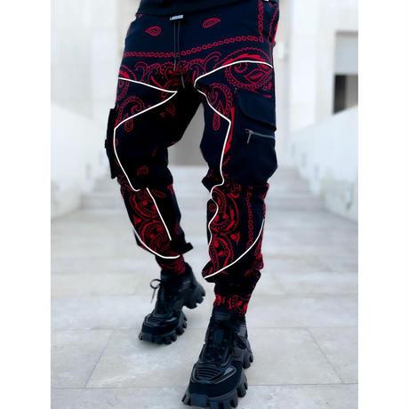 "GUAPI/ Paisley cargo pants V2 ""BLACK × RED"""