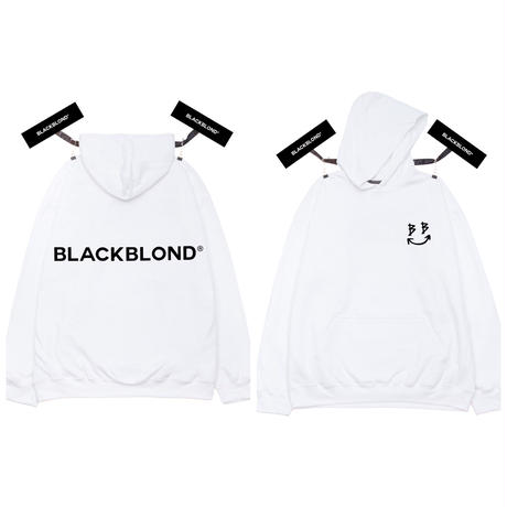 BLACK BLOND/BB logo smile  Hoodie  WHITE