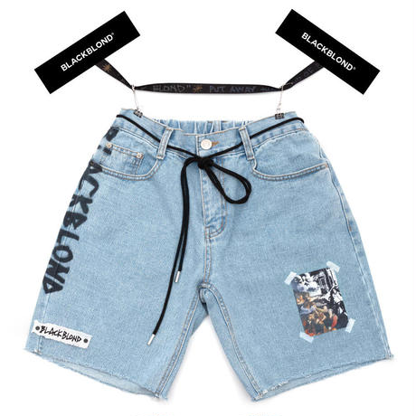 BLACK BLOND/CUSTOM Denim Shorts BLUE