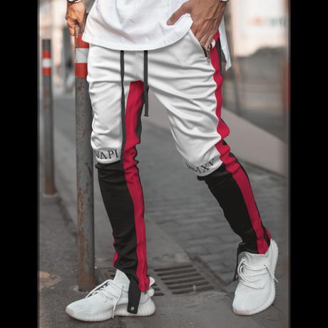 GUAPI/Biker Track Pants BLACK White