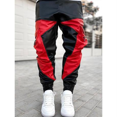 GUAPI/ Obsidian BLACK RED Leather Cargo pants V2