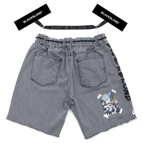 BLACK BLOND/CUSTOM Denim Shorts Dark Grey