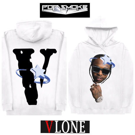 V LONE × POP SMOKE/HALO WHITE  Hoodie WHITE