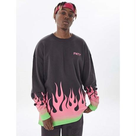 FNTY/Flying FLAME Crewneck FADED BLACK
