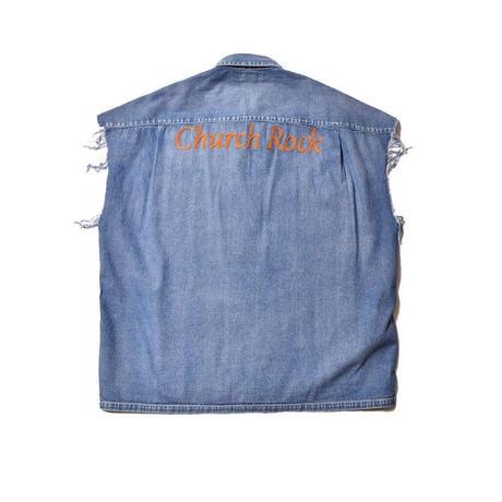 MINEDENIM : Church Rock Embroidery Cutoff Sleeve Work SH