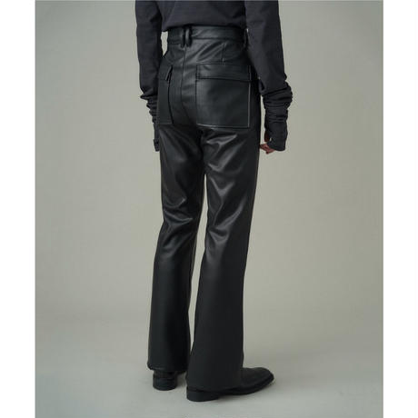 JUHA : SYNTHETIC LEATHER FLARE PANTS