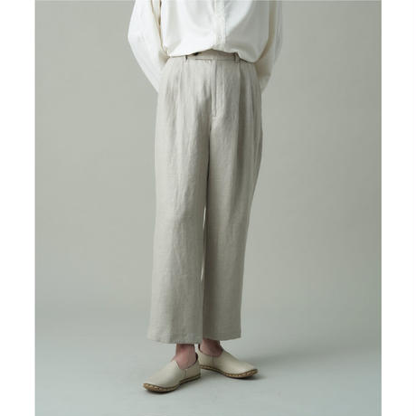 JUHA:HERRINGBONE LINEN CROPPED PANTS