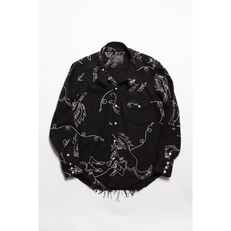 The Letters : WESTERN SWING TOP SHIRT -  HORSE SOFT HEAVY FLANNEL -