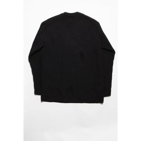 The Letters : 5G V NECK GRUNGE KNIT - TWEED WOOL -
