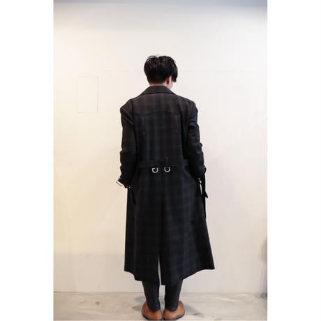 The Letters : WESTERN D RING TRENCH COAT -OMBRE CHECK WOOL -