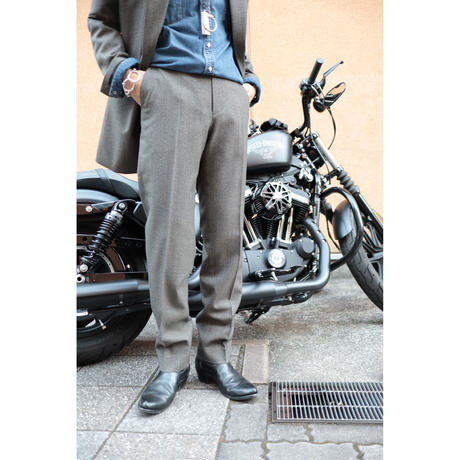 The Letters : CLASSICAL REGULAR TROUSERS - GREN CHECK WOOL -