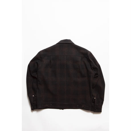 The Letters:OVERSIZED WORK JACKET-OMBRÉ CHECK TWEED WOOL-