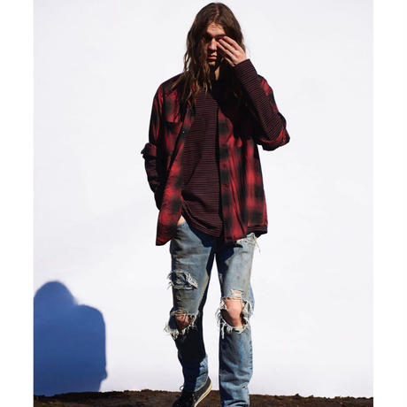 MINEDENIM×CDL :Rayon Ombre Check loose Work SH
