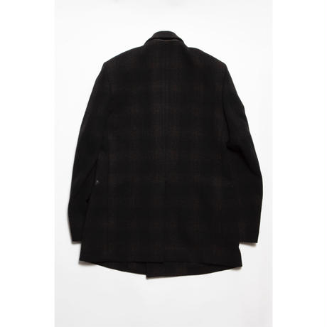 The Letters : DOUBLE BREASTED PATCH POCKET JACKET - OMBRE CHECK TWEED WOOL -
