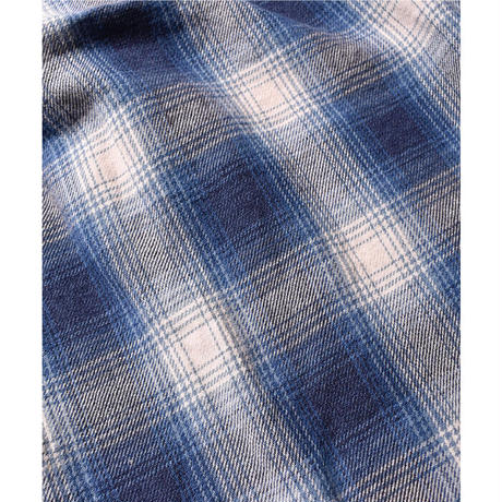MINEDENIM : Ombre Check Flannel Open Collar Shirt
