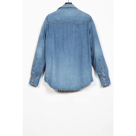 The Letters : WESTERN CUTTING EMBROIDERY SHIRT - USED WASHED DENIM -