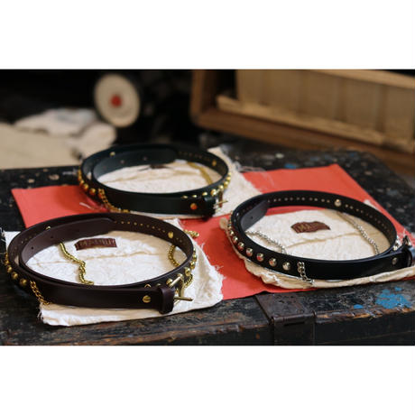 MAINU : Studs Bridel Leather Belt