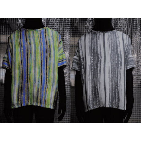 TAAKK : SPRAY STRIPE SILK PULLOVER SHIRT