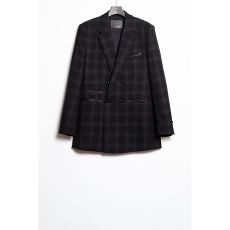 The Letters : DOUBLE BREASTED JACKET -OMBRE CHECK WOOL-