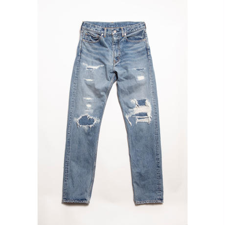The Letters:5POCKET GRUNGE TAPERD PANTS -USED WASHED DENIM-