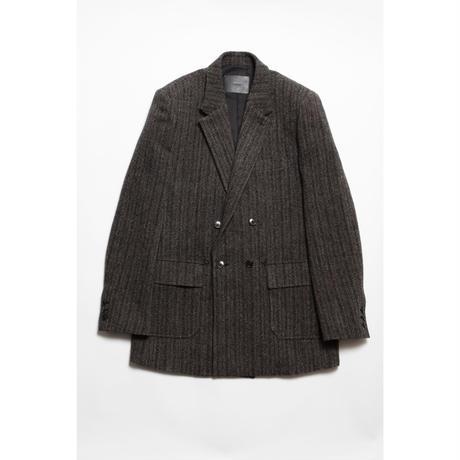 The Letters : DOUBLE BREASTED PATCH POCKET JACKET - TWEED STRIPE WOOL -