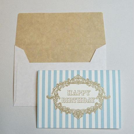 ミニグリーティングカード(封筒付き)・誕生日(青)