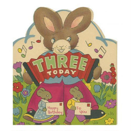 バースデーカード 3ウサギ