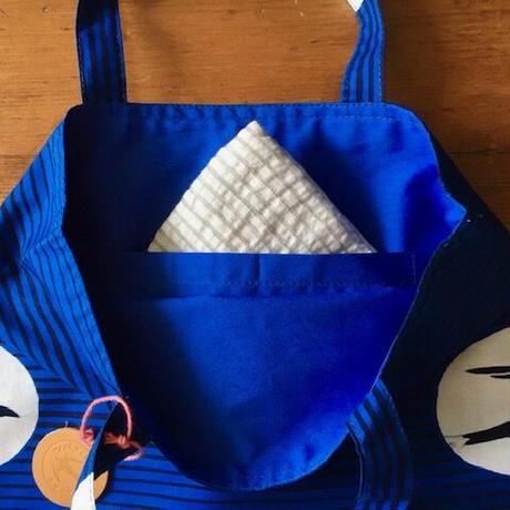アフリカンプリントバッグS 38・VLISCOツバメ青