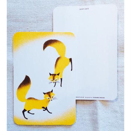 オリジナルポストカード・2匹のキツネ・2枚
