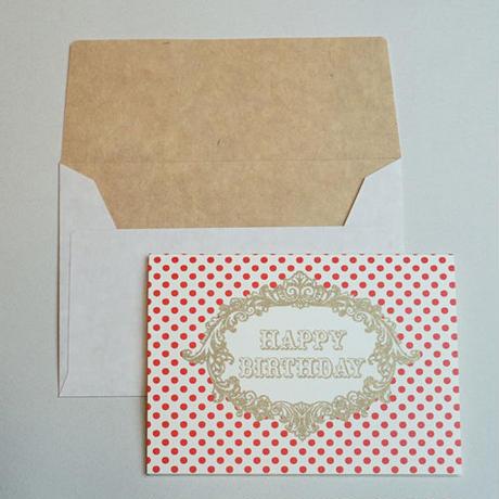 ミニグリーティングカード(封筒付き)・誕生日(赤)